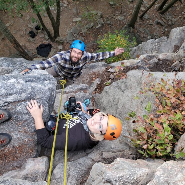 Charity and Husband Rock Climbing
