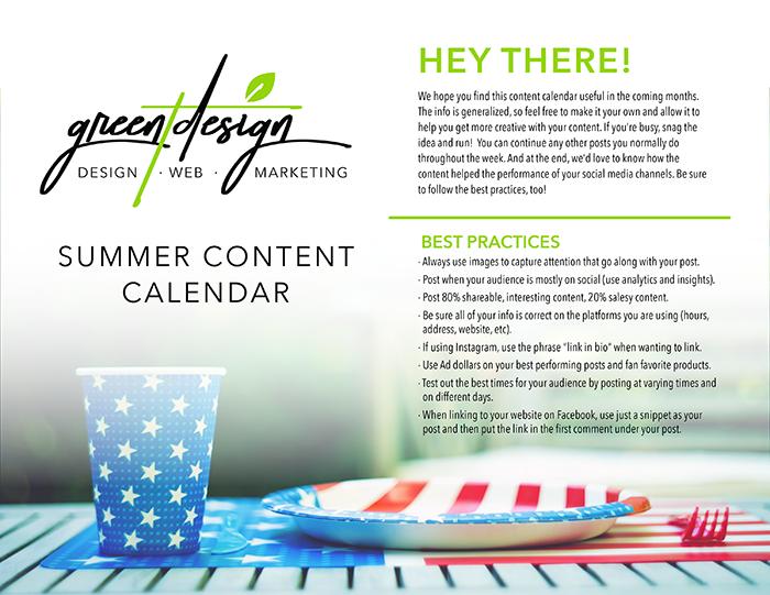 Summer Social Media Content Calendar